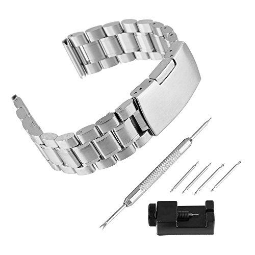 BEWISH 26mm Edelstahl Uhrenarmband Solide Ersatzband Riemen Smart Watch Strap Band Faltschließe mit Uhrmacherwerkzeug Stiftausdrücker Reparatur Set