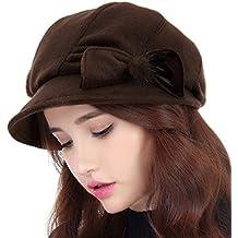 Versión coreana del pintor del sombrero del invierno de la caída de chicas boinas (cuatro colores opcionales) ( Color : Marrón , Tamaño : L(58-60cm) )