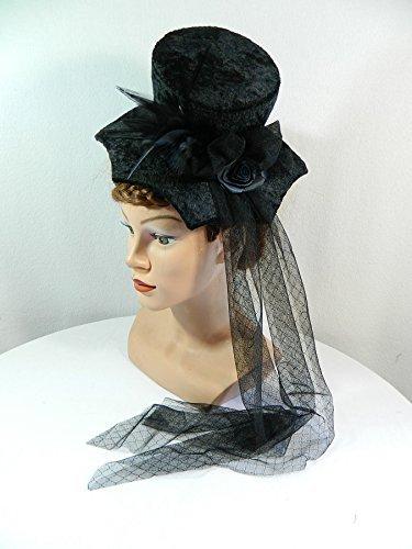 Midi Damenhut schwarz Samt Spinnennetz Halloween Gothic Fascinator - Spinnennetz Fee Kostüm