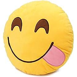 MAXGOODS Emoji Emoticón Almohada Cojín Suave Peluche Felpa Almohadilla Redonda (Opciones de Siete Estilos) (Glotón)