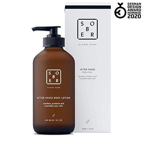 sober® | After Shave Body Lotion | Aftershave für die Körperrasur | Feuchtigkeitspflege ohne Alkohol für Männer