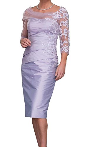 ShineGown Mutter der Braut Bräutigam Outfits Tüll Applique Sheer Strass Pencil Dress (Hell lila, 46) (Mutter Des Bräutigams Kleider)