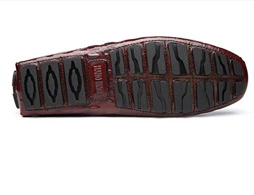 WZG Die neuen Krokodilherrenschuhe Low-England-Männer Leder Freizeitschuhe faule Schuhe Peas Schuhe zu helfen, Schuhe Fahr wine red
