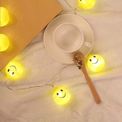 Prevently Ball Smiley-Gesicht Lichterkette Emoji Smiley Glühlampen String Lichter Batteriebetrieben für Weihnachtsbeleuchtung, Balkon, Außen Deko, Innen 1.2m10led 2.5m20led (2.5m20led)
