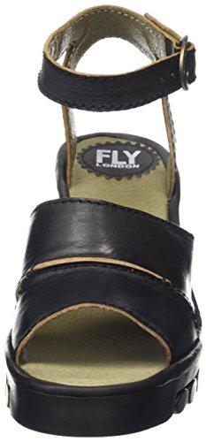 FLY London ROSE643FLY, Sandales Compensées femme Noir - Noir