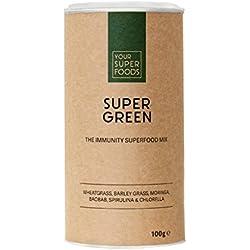 Your Superfoods Super Green Superfood - Bio Vegan Mix Pulver Mischung Trinkpulver aus Weizengras, Gerstengras, Spirulina und Chlorella 150g