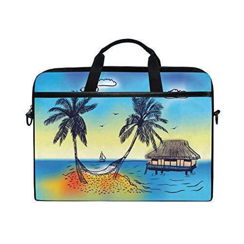 ISAOA Paradise Island mit Palmenbaum Laptop-Tasche, leicht, Umhängetasche, Laptoptasche, Messenger Bag, Tasche für 14-15,6 Zoll Notebooks, für Reisen/Business/Schule Paradiso Leinen