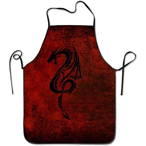 ouyjian Green Apron Dragon Red Black Deluxe Cute Aprons Chef Kitchen Cooking and Men & Women Baking Bib BBQ Apron (Dragon Lady Red Kostüm)