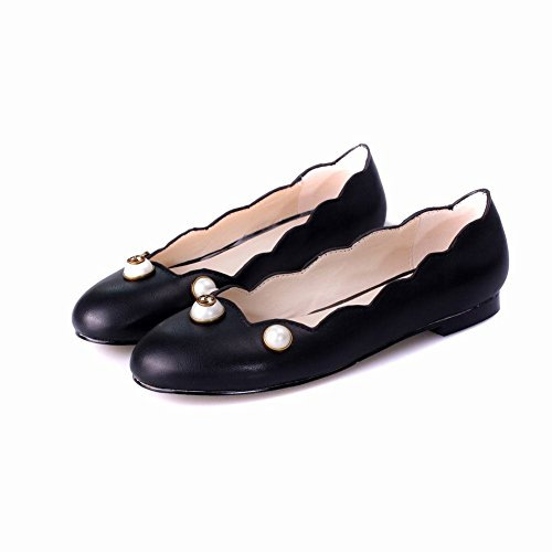 MissSaSa Damen bequem flach geschlossen Low-cut Slipper/Halbschuhe mit künstlich Perlen Schwarz