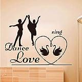 Mrlwy Homme et Femme Danse Chanter Amour Chambre Wall Sticker Pvc Amovible Romantique Décor À La Maison Deux Cygnes Motif Enfants Sticker 58x44cm