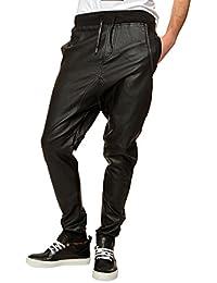 Urban Classics Herren Lederhose Deep Crotch Leather Imitation Pants
