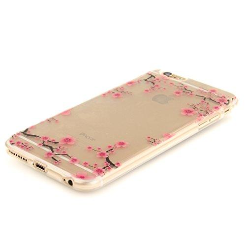 iPhone 6S Plus Handyhülle,iPhone 6 Plus Transparent Hülle,JAWSEU Schön Pink Blumen Muster Premium Weich Backcover Schutzhülle Durchsichtig Flexibel Klar Transparent Gel Silikon Tpu Hülle Superdünn Sto Pink Blumen#