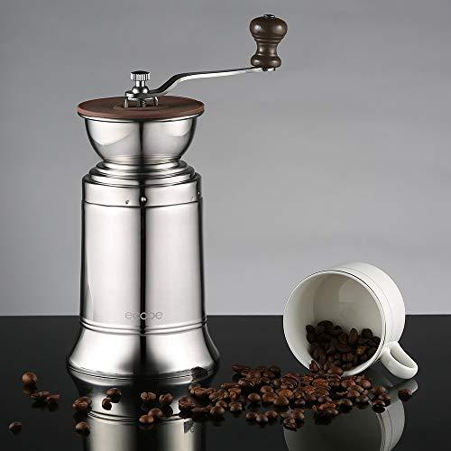 ecooe Große Kapazität Manuelle Kaffeemühle Edelstahl Handkaffeemühle mit Keramikmahlwerk Einstellbarer Mahlgrad Espressomühle