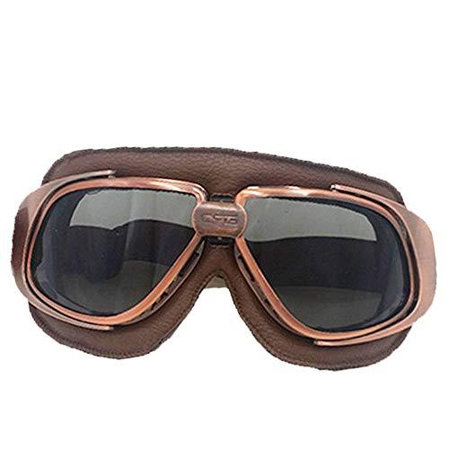 YHBHHW Radbrille Kunstleder Retro-Brille Vier Jahreszeiten universelle braun Leder Bronze Rahmen Brille Brille -