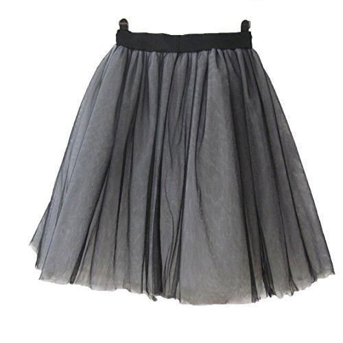 ock Tutu Tuturock Tütü Petticoat Tüllrock 6 Schichten mit Gummizug für Karneval, Party und Hochzeit 5XL Schwarz und Weiß (Diy Halloween-kostüme Für Schwangere Frauen)