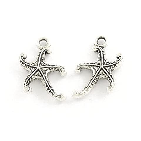 Packet of 30 x Antique Silver Tibetan 17mm Charms Pendants (Starfish) - (ZX16135) - Charming Beads