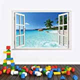 Environmentally friendly PVC waterproof removable wall decoration 3d solid wall paper fake windows wall stickers background w