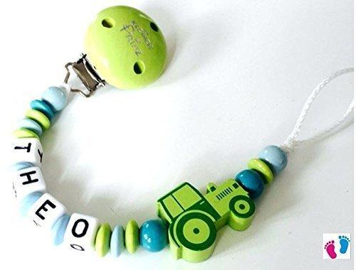 Preisvergleich Produktbild Schnullerkette mit Namen - Kleiner Prinz - Traktor - Junge - grün - blau - türkis - B004