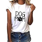 Linkay T Shirt Damen Langarm Bluse Hund Mom Drucken Tops Beiläufig Oberteile Mode 2019 (Weiß, Medium)