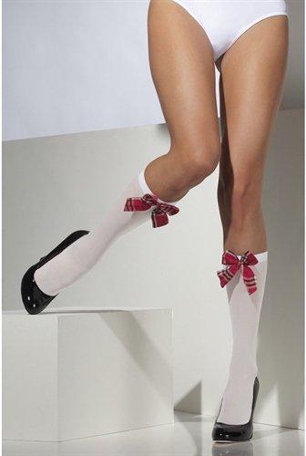 Smiffys Fever Damen Kniestrümpfe mit Tartan-Muster Schleifen, Blickdicht, One Size, Weiß, - College Kostüm Für Paare