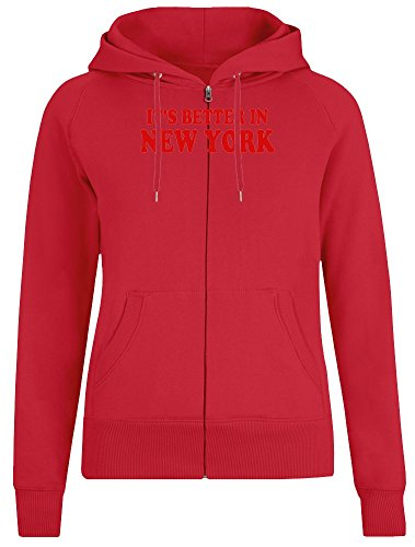 Es ist Besser in New York - It's Better In New York Zipper Hoodie Jumper Pullover for Women - 100% Soft Cotton DTG Printing Womens Clothing X-Large (New York Hoodie Zipper)