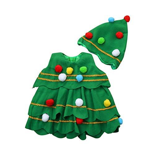 Hahuha Kinderbekleidung,3-4 Jahre alt KlAkind Kinder Baby Mädchen Weihnachtsbaum Kostüm Kleid Tops Party Weste + Hut Outfits