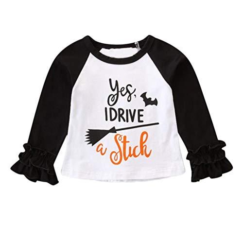 (Halloween Kostüm,Halloween Hexen Langarm T-Shirt für Mädchen Baby,Kinder Karneval Party Cosplay Kostüm/ 6-24 Monat/ 1-4 Jahr Alt (Schwarz, 6~12 Monat))