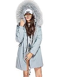 Lea Marie Damen Parka XXL Kragen aus 100% ECHTPELZ ECHTFELL Jacke Mantel  Grau Silber Light d1a0a4db8b