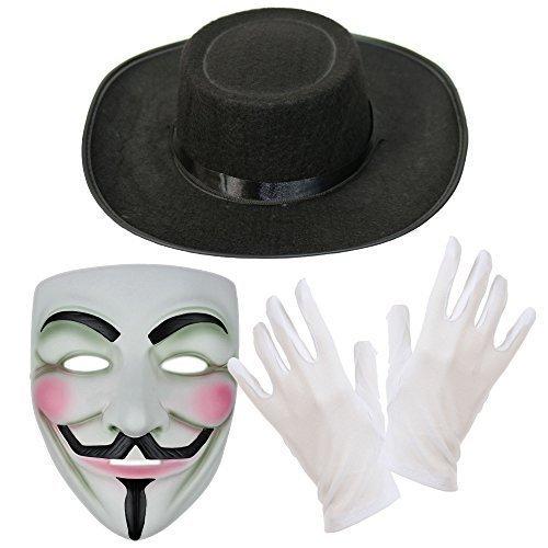 V for Vendetta Maske, Hut & Weiße Handschuhe Kostüm Kombo-Set (Vendetta Hut Kostüme)