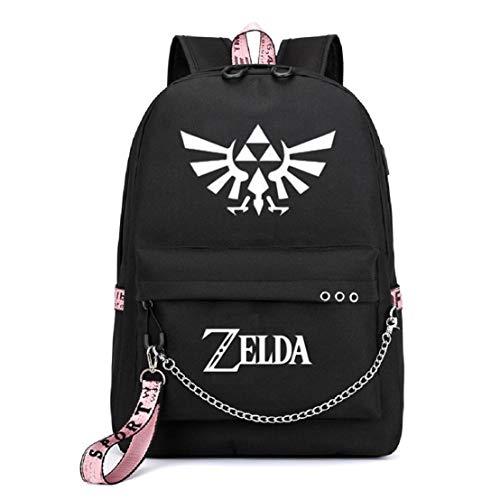 YOYOSHome Luminous Anime The Legend of Zelda Cosplay Bookbag Daypack Laptop Tasche Rucksack Schultasche mit USB-Ladeanschluss, 1 (Schwarz) - yyyo3