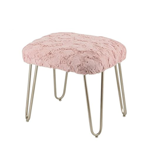 Lounge- & Cocktailsessel Plüsch Hocker Metall Mode Make-up Hocker Dressing Hocker Esszimmerstuhl Tee Tisch Hocker (Farbe : Pink, Größe :...
