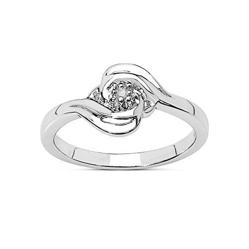 Die Diamant-Ring-Kollektion: Sterling Silber Swirl Design 0.03CT Diamant Solitaire Verlobungsring, Geschenk der Mutter Tages (Swirl Verlobungsring)