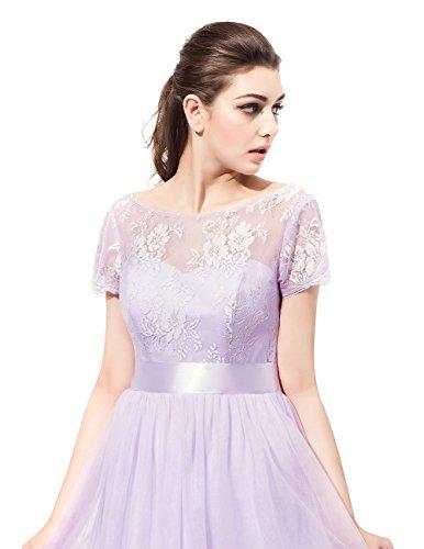 Dresstells Damen Bodenlang Abendkleider Lace Chiffon Rundhals Brautjungferkleider Ballkleider Grape
