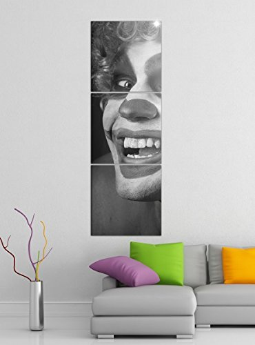 rror Clown Maske gruselig Gesicht schwarz weiß Bilder Druck auf Leinwand Vertikal Bild Kunstdruck mehrteilig Holz 9YA5108, Vertikal Größe:Gesamt 40x120cm ()