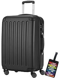 Hauptstadtkoffer® Valigia (82 litri) con un lucchetto TSA Seria SPREE (Colore Nero con 1 ciondolo per la valigia)