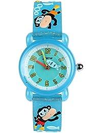 ELEOPTION 3D Cute Cartoon Quartz Watch Wristwatches with Silicone band Time Teacher for Little Girls Boy Kids Children Gift