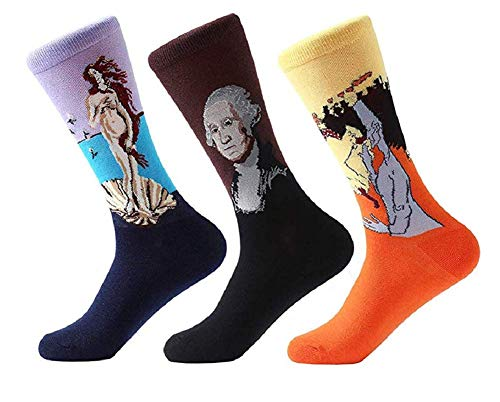 Ducomi calzini unisex 3 pack - calze in morbido cotone con stampe opere d'arte e quadri - ottima qualità ed elasticità - misura eu dal 36 al 45 - idea regalo donna e uomo (m-01)
