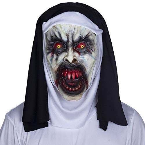 HITSAN INCORPORATION The Nun Cosplay Mask Valak Creepy Scary Horror Latex Masks with Veil Hood Costume Halloween Party Masque Props Deluxe