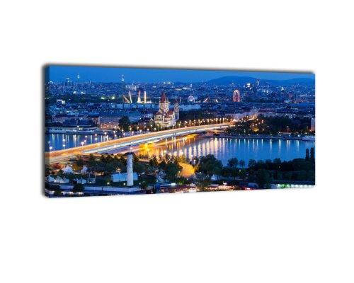 Leinwandbild Panorama Nr. 220 Wien bei Nacht 100x40cm, Keilrahmenbild, Bild auf Leinwand, Östereich Wien Prater