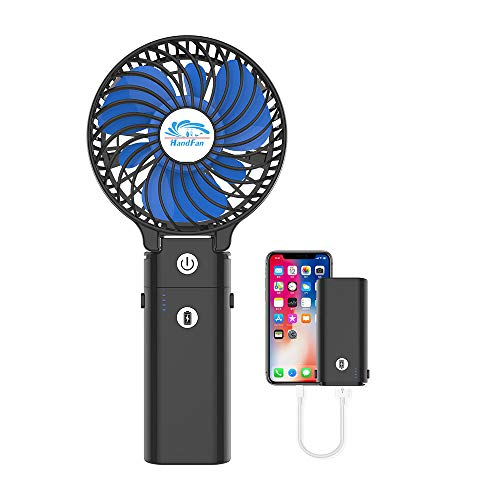 HandFan Ventilador Personal portátil con Pilas de 5200mAh Banco de alimentación Ventilador...