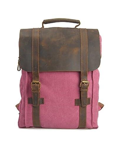 FAIRY COUPLE neue Unisex Vintage Stil Rucksack Alltagbag Alltagrucksack Schultasche Canvas mit Leder Multifunktion C5116?rosa?