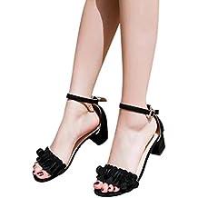 Zapatos de tacón mujer ❤️ Amlaiworld Sandalias de tacón alto para mujer primavera verano Sandalias tacon fiesta chanclas Zapatos de playa Calzado zapatillas Mujer sneakers cuñas mujer Zapatos Señoras flores adornan hebilla zapatos (Negro, 39)