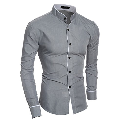 Men's Fashion Leisure Camisa Newborns Pure Color Long Sleeve Casual Shirts white