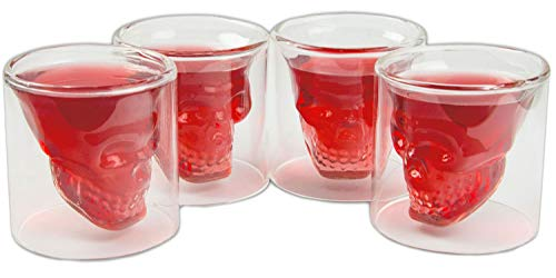 4er SET Skull-Gläser (70ml), Shotglas für die Hausbar, Party, Halloween, Geschenk im Totenkopfdesign, Vodka, Whiskey, Likör, Totenkopf, Schnapsglas, Metal, Rock 'n' Roll, Farbe: Transparent
