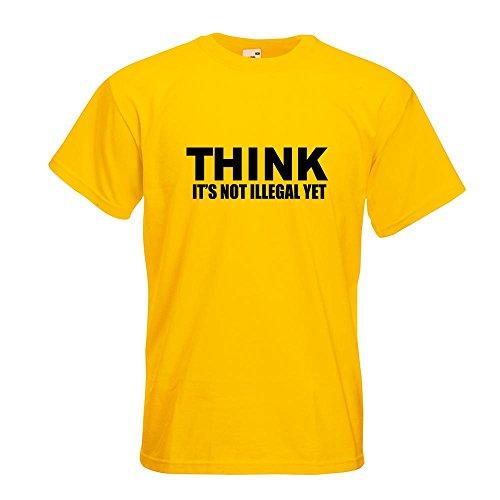 KIWISTAR - Think it's not illegal T-Shirt in 15 verschiedenen Farben - Herren Funshirt bedruckt Design Sprüche Spruch Motive Oberteil Baumwolle Print Größe S M L XL XXL Gelb