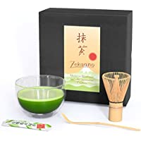 Aricola Cristal Matcha Juego de 3Piezas, 400ML de Doble Pared Térmico de Cristal Cuenco para Té Matcha (Cuchara de bambú Escoba, en Caja de Regalo, Original