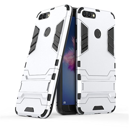 Huawei P Smart Funda, YHcase [Armor Series] Combinación A Prueba de Choques Heavy Duty Escudo Cáscara Dura PC + Suave TPU Silicona Rubber Case Cover con soporte para Huawei P Smart -Sliver