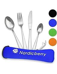 Nordicberry Premium Outdoor Reisebesteck und Campingbesteck aus hochwertigem Edelstahl mit Neoprentasche