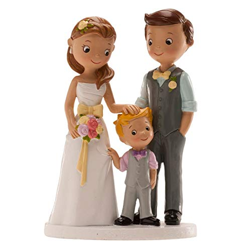 Figura grabada personalizada con los nombres de los novios y la fecha de la boda, con su hijo.