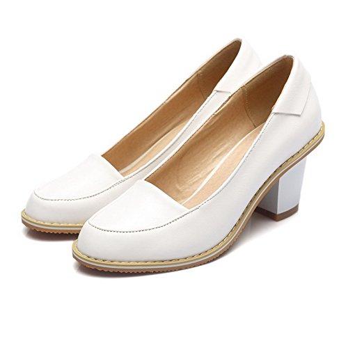 AllhqFashion Femme Pu Cuir à Talon Haut Rond Couleur Unie Tire Chaussures Légeres Blanc